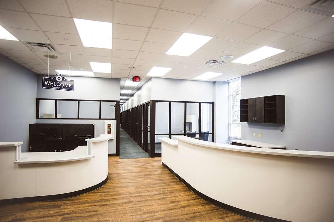 Inside lobby of WVUP one-stop enrollment center in Parkersburg, WV