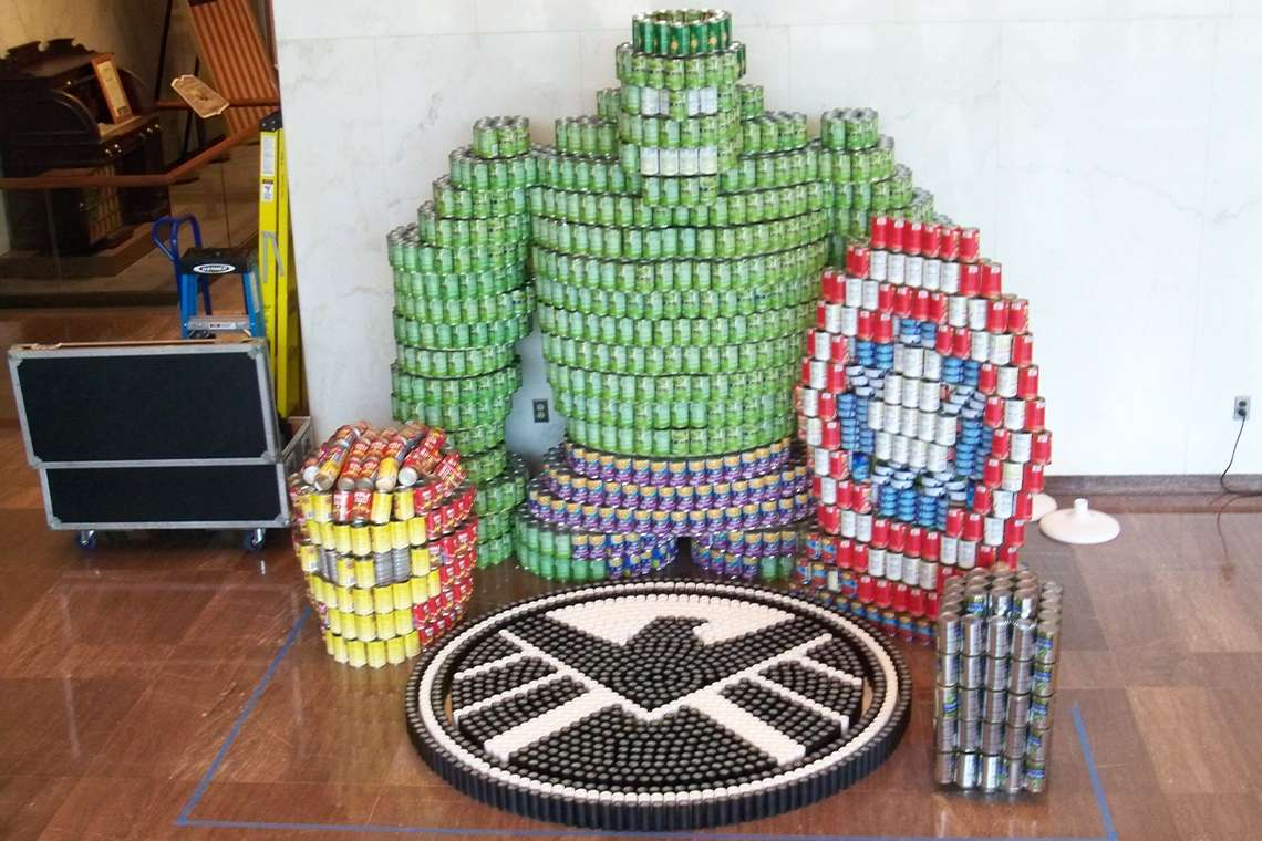 Canstruction of the Incredible Hulk, Iron Man's head, and Captain America's shield